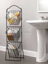 Metal Wire Bathroom Storage Basket /Shower Caddy Basket for Shampoo / Three tier