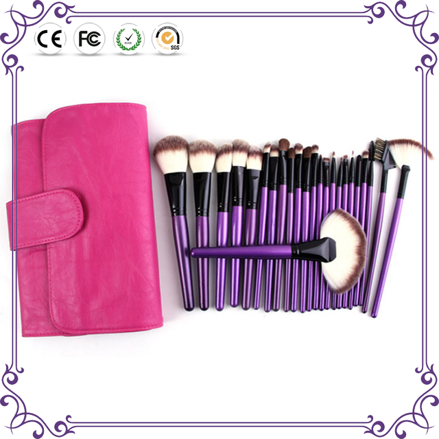 fashionable purple handle 24pcs cosmetic makeup brushes set private label