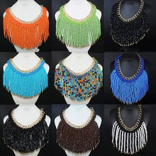 Wholesale Boutique Fashion Jewelry Gold Plated Handmade BIb Acrylic Bead Tassel Necklace