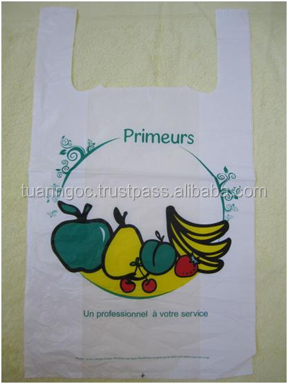 Plastic T-shirt bag for vegetable and fruits/ HDPE T-shirt bags