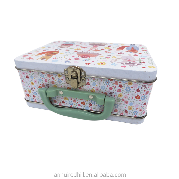 factory custom handled metal lunch tin box for kids