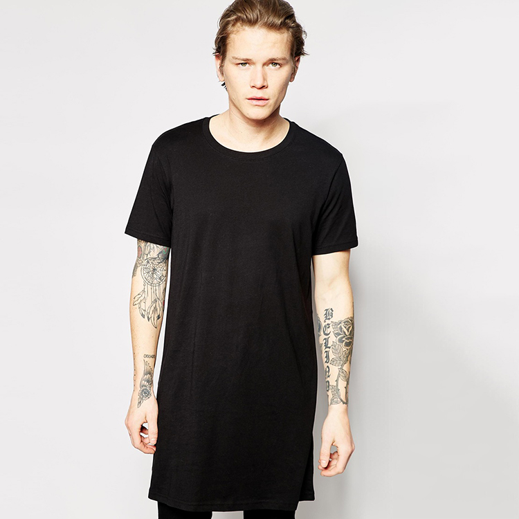 Weekday 100 cotton t shirt long extra long line tall tee for Extra long shirts for tall men