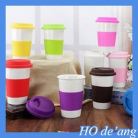 HOGIFT Hot Sale Promotional Large Ceramic Coffee Mug with Silicone Lid and Case
