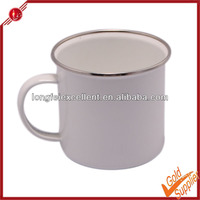 High quality white printing steel enamel mug logo custom printed cups