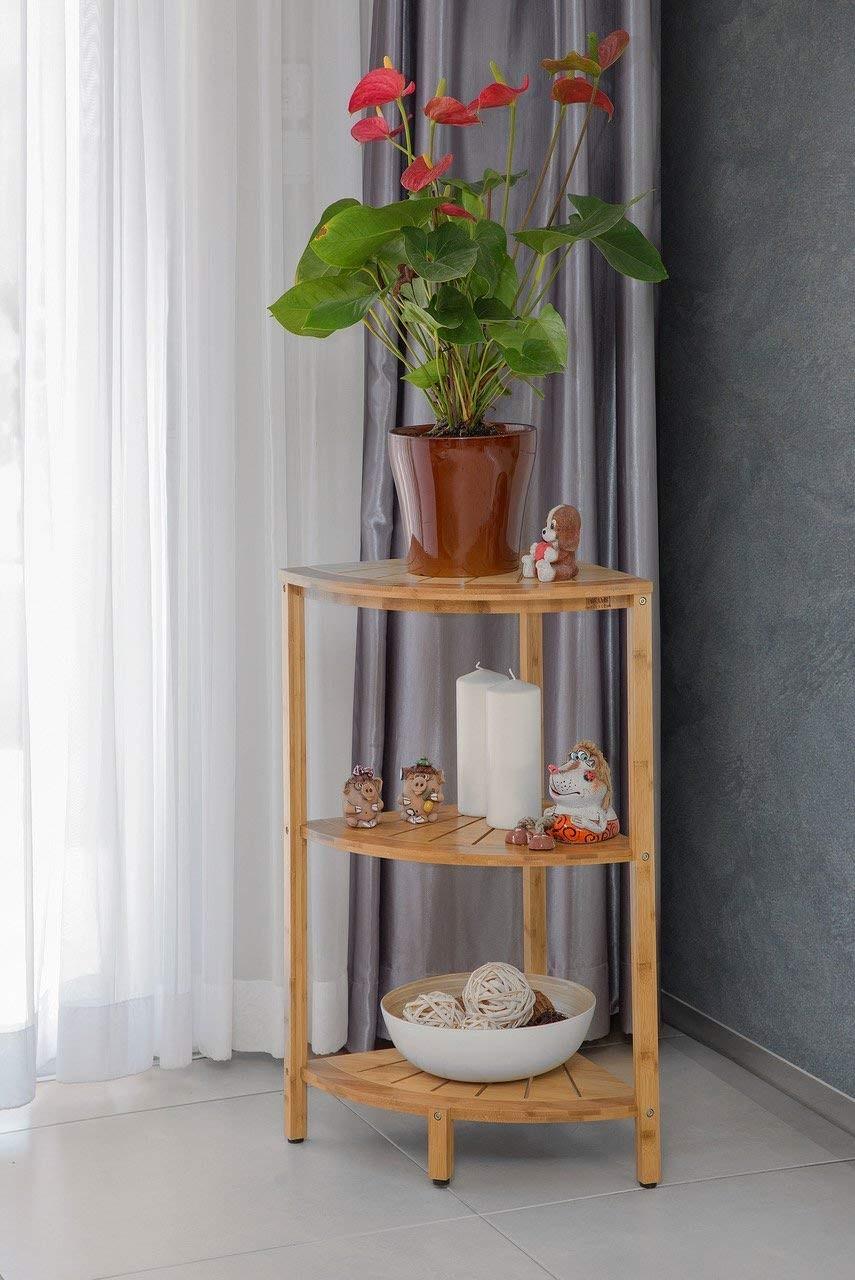 Freestanding 3 Tier Bamboo Corner Shower Shelf Caddyfor Shower Kitchen Hall