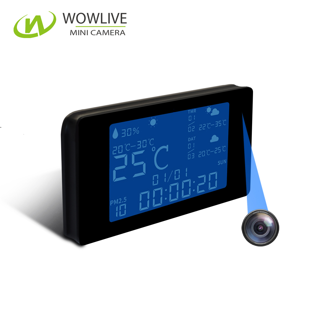 1080P Spy Hidden Fashionable Weather Station Table Clock WiFi Indoor Ip Wireless Camera