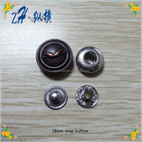 2015 18mm custom fashion metal snap button for clothes