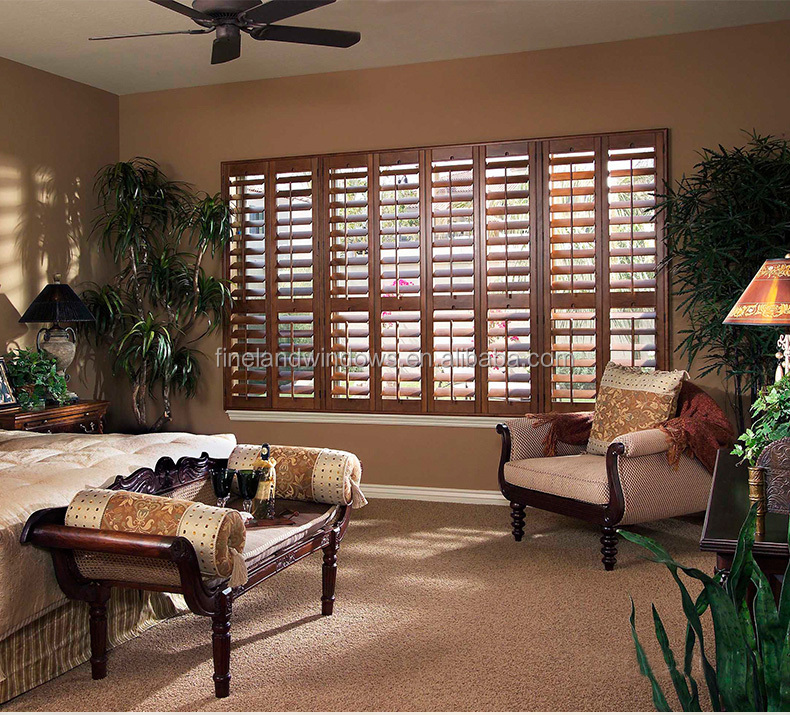 Wood color moveable aluminum shutter window
