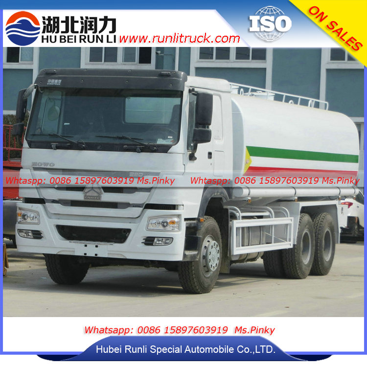 290HP 6*4 Sinotruk Howo Mobile Tank Water Truck 20Tons Fast Delivery to Ethiopia by Hubei Runli Factory
