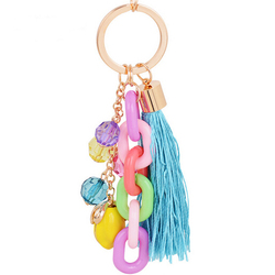 Custom colorful candy acrylic keychain with tassel/promotional keychain