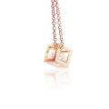 Charm tiny 18k gold plated pendant square cubic zirconia necklace