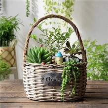 home and garden Plastic liner wicker flower succulent planter basket pots