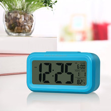 Large LCD Display Alarm Clock Cheap Small Indoor Room Desktop LED Digital Clock With Temperature