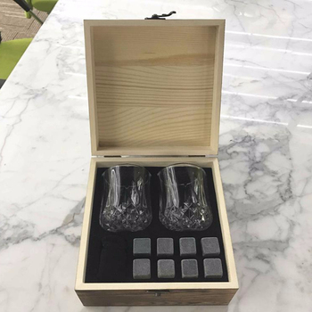 Customized Whiskey Stones Gift Set with 2 glasses