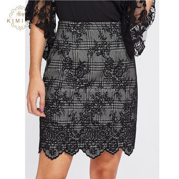 Dongguan Supplier OEM Elegant Black Scalloped Hem Jacquard Straight Skirt