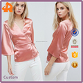 OEM soft high quality woman blouse,silk plus size blouse manufacturer in china