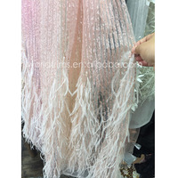 Fashion elegant korea beaded sequined feather lace fabric for sale