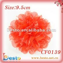 CF0139 Fashion orange fabric flower corsage with mesh