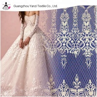 fashion design tulle embroidery lace fabric bridal wedding dresses white flower guipure lace fabric