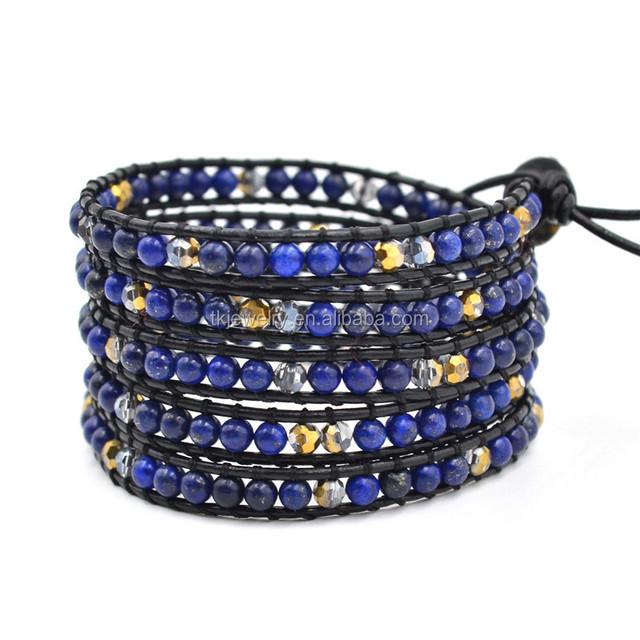 Factory Custom Lapis Lazuli Jewelry Bracelet 5 layer Wrap Lapis beads birthstone Bracelet Gift for Girl Friend