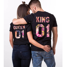 Wholesale King Queen Printed Black Cotton Love Couple T Shirt