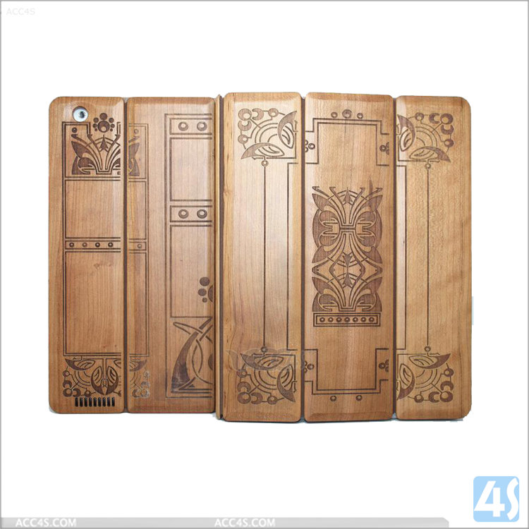 For Tablet Bulk iPad Cases And Covers ,Factory OEM Hard Case cover for iPad 2/3/4 ,Folding Stand Wood + PU Leather Case for iPad