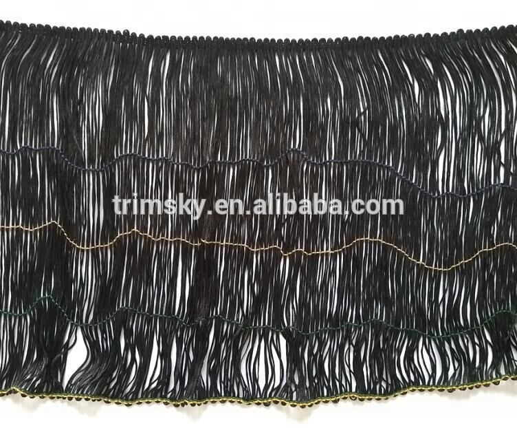 30cm Black Chainette Polyester Stretch Loop Fringe Trim, Long Black Fringe Trim with Elastic-- Prompt Delivery! Free Shipping