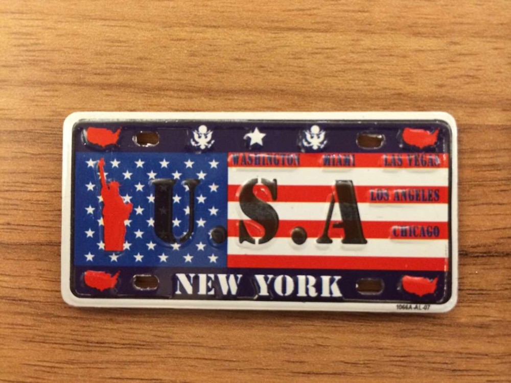 promotional gift small flag car license plates embossed metal fridge magnet