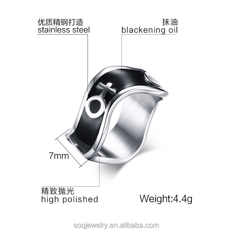 Jewelry Women Men Black Enamel Stainless Steel Engagement Wholesale Ring