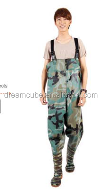 camo chest PVC Knitting fishing waders