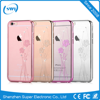 Hot Sale Ultra Slim Luxury Crystal Diamond Bling Transparent Colored PC Back Cover Phone Cases For Apple iPhone 6 6S Plus