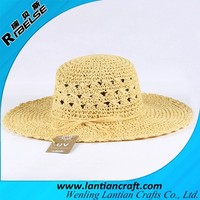 2015 new fashion paper straw raffia panama floppy hat wholesale