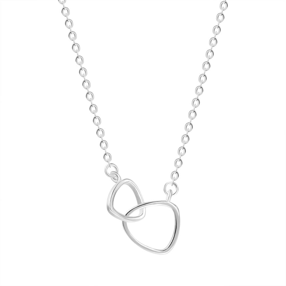 Silver Double Circle Interlocking Heart Circle <strong>Necklace</strong> & Pendant Lariat Simple Romantic Chokers collana Kolye Bijoux