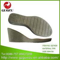 Shoe making supplies tpr wedges soles for woman