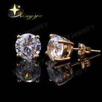 Five Sizes Brass Metal Round AAA Zirconia Single Stone Gold Stud Earrings