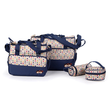 Newest Desgin Dark Blue 5pcs Multi-Function Baby Diaper Nappy Bag
