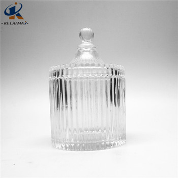 500ml Ribbed And Fluted Shape Glass Bottle Food Storage Jar Container