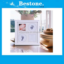 Hot Baby first month hand foot print 3D casting wooden frame