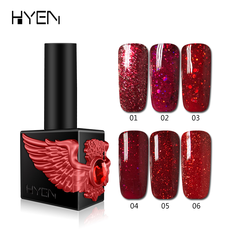 New Arriavals 15ml 6 Color DIY Glitter LED Gel Nail Polish 3 Steps UV Gel Manicure Polish