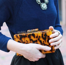 Newest hot sell lucite shell evening bag tokyo acetate resin clutch acetate tortoise purse