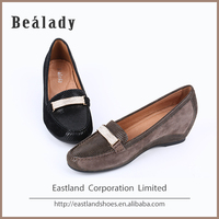Newest fashion elegant printed lizard effect leather high heel steel toe safety wedge shoes