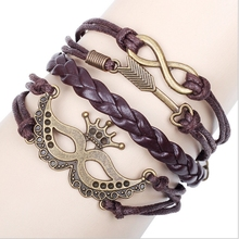 New Design Mutil-layer Brown Alloy Arrow Mask Leather Bracelets