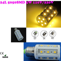 5w 230v 240v 24LEDs 5050smd led corn lights bulb e27 diode lamps