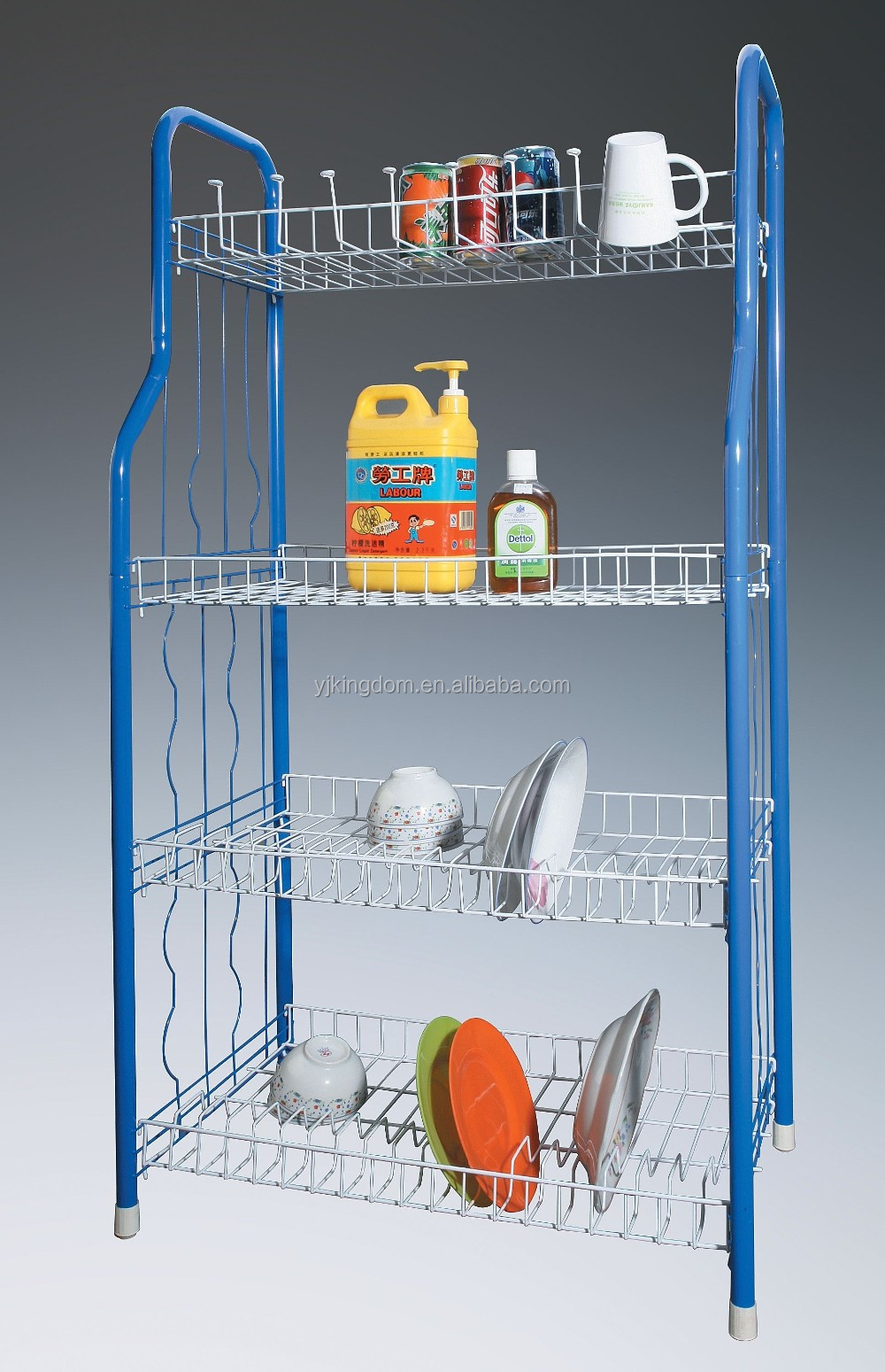 549-66 3-Tier Metal wire Storage Cart with Gold Plated