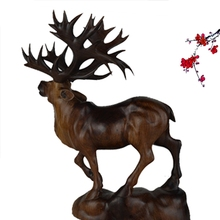 Grind Redwood Wood Carvings Ebony Household Office Animals Wooden Reindeer Table Statue Stand Deer Decoration