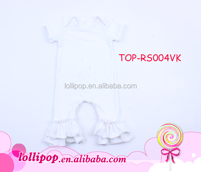 Classic design pure white plain baby solid color romper for wholesale, baby ruffle romper