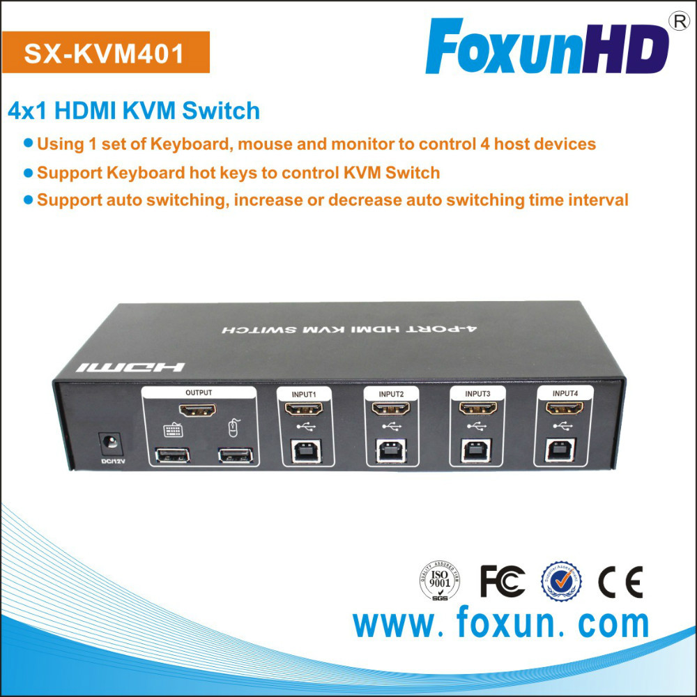 SHUNXUN 4 inputs 1 output support auto switching host devics by just moving mouse HDMI KVM switch