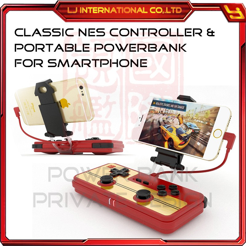 smartphone gamepad bluetooth wireless classic FC style for android with 10400mah universal powerbank