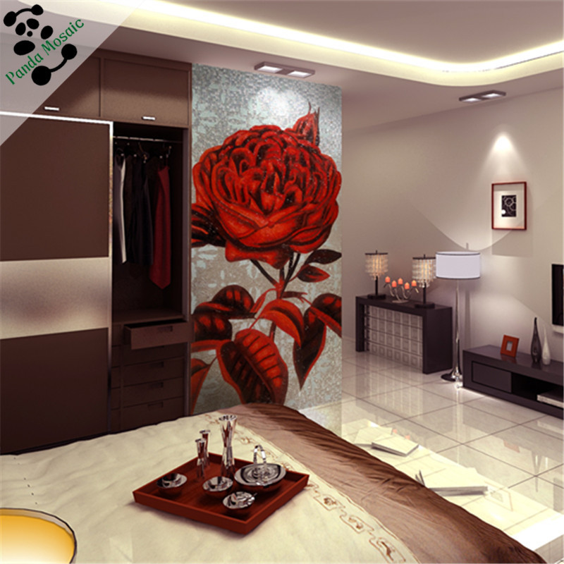 Mb Smm16 Pink Rose Glass Mosaic Pattern Tile Flower Mosaic Tile Wall Hanging Glass Painting