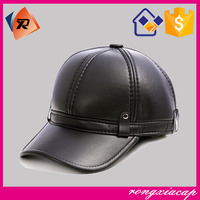 wholesale custom winter leather baseball cap with ear flaps